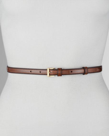 Spazzolato Fume Skinny Belt