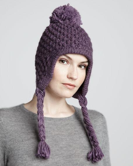 Earflap Pompom Knit Hat