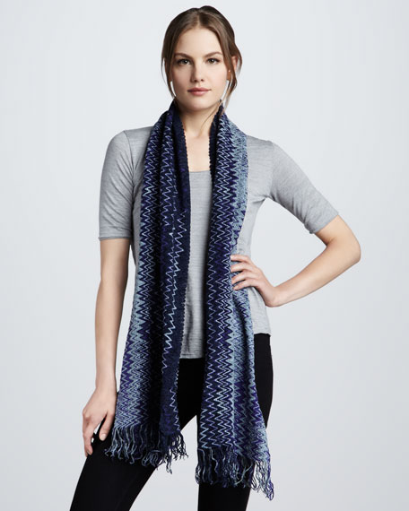 Zigzag Scarf, Purple/Blue
