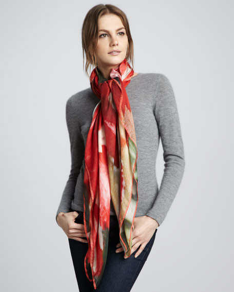 Parrot Tulip-Print Scarf, Carnation Red