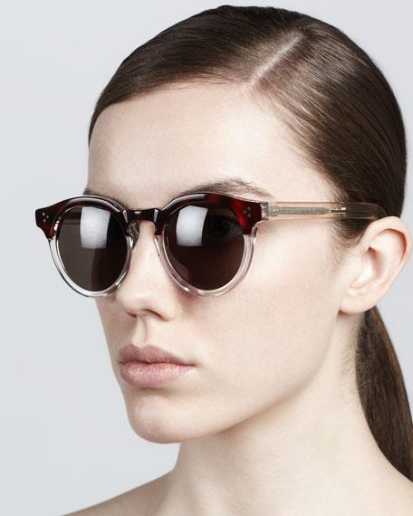Leonard II Round Sunglasses, Brown/Gray