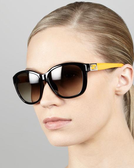 Contrast-Arm Sunglasses, Black