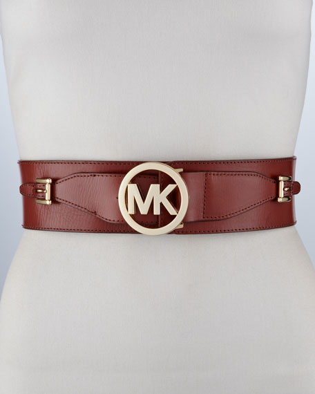Logo-Medallion Leather Belt