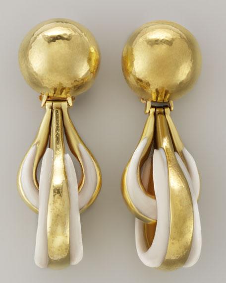 Green Gold-Plate Bone Drop Clip Earrings