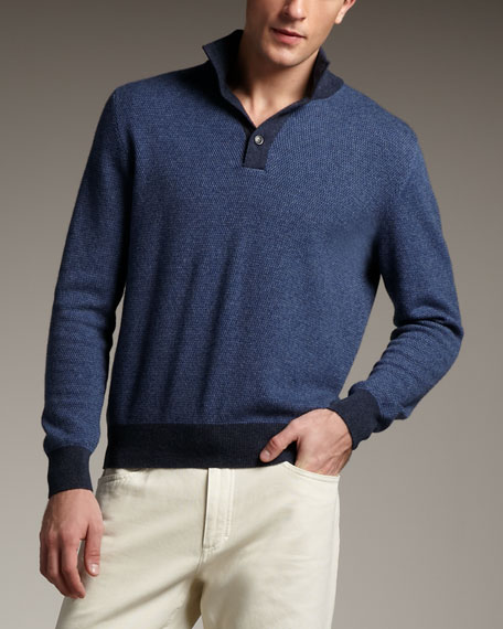 Mezzocollo Cashmere Sweater, Blue