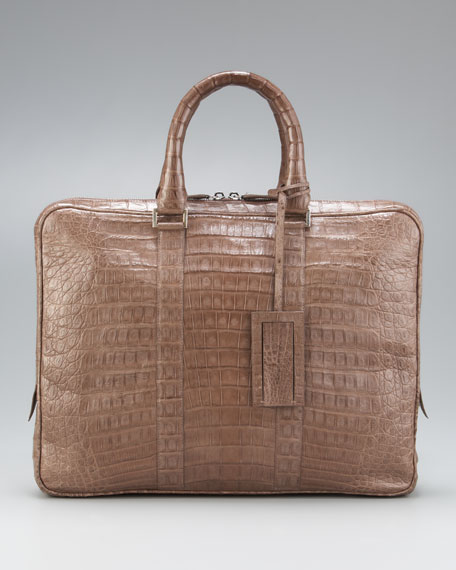 Slim Crocodile Briefcase, Taupe