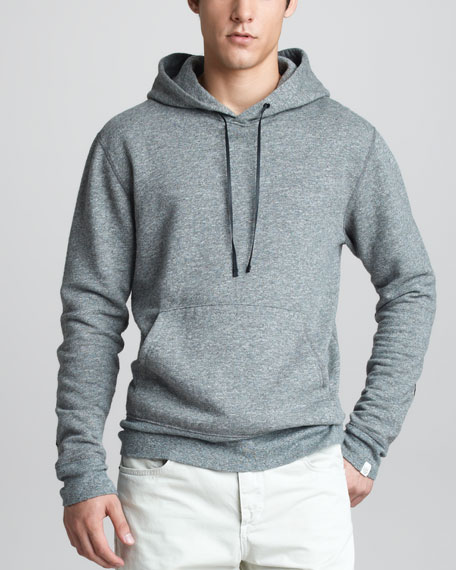 Suede-Patch Pullover Hoodie