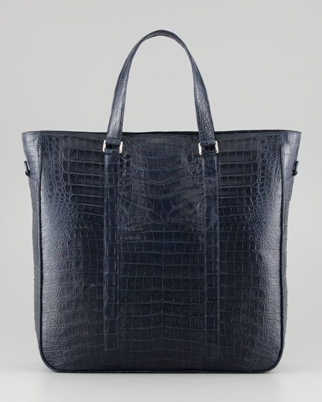 Men's Large Crocodile Tote Bag, Navy