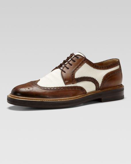 Eyck Brushed Leather & Canvas Lace-Up