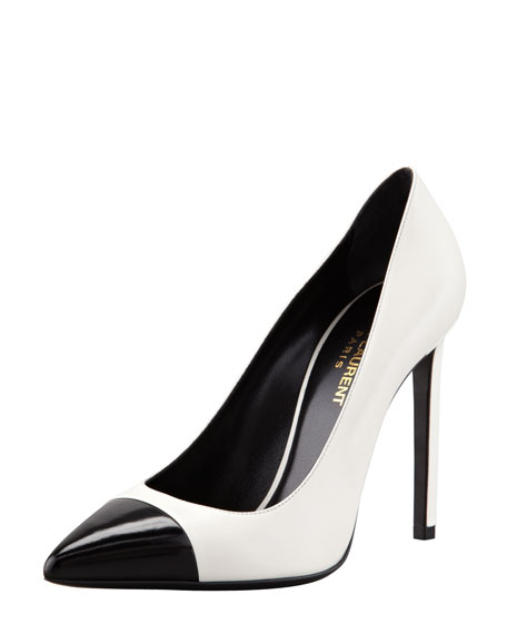 Bi-Color Leather Cap-Toe Pump, White/Black