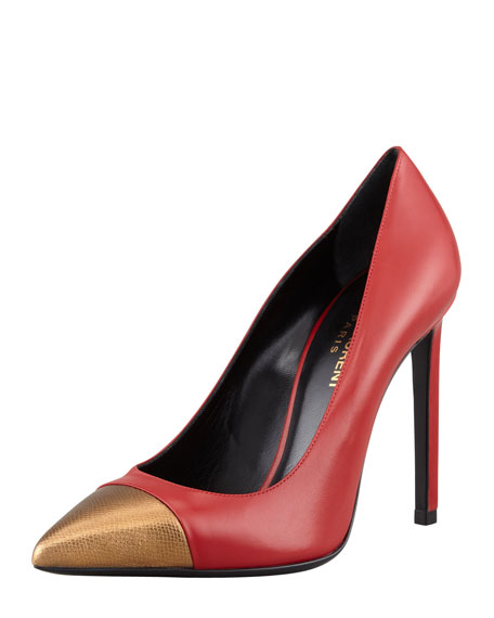 Paris Metallic Cap-Toe Pump, Red