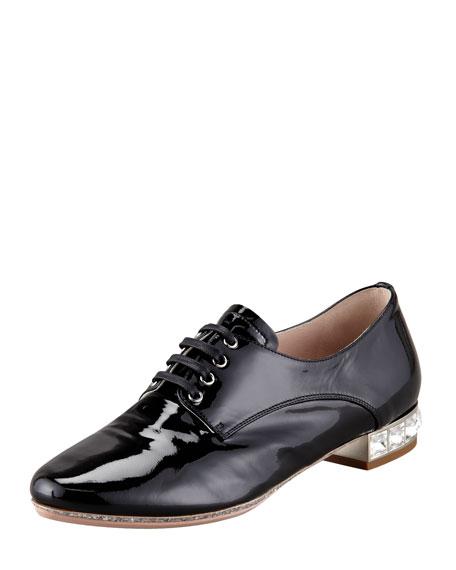 Patent Leather Jewel Heel Loafer, Black