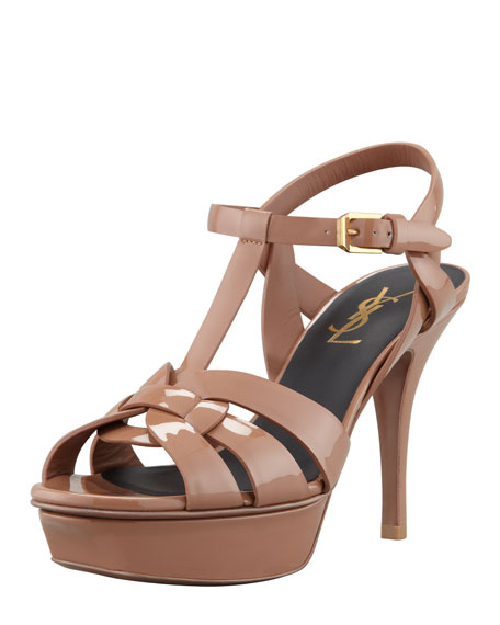 Patent Leather Mid-Heel Tribute Sandal, Sand