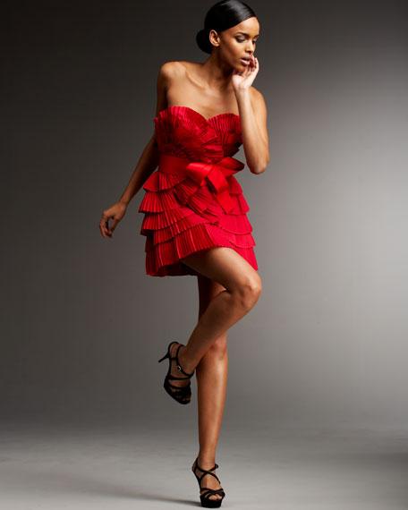 Pleated Fan-Bodice Cocktail Dress
