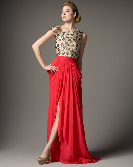 Tulle & Chiffon Combo Gown