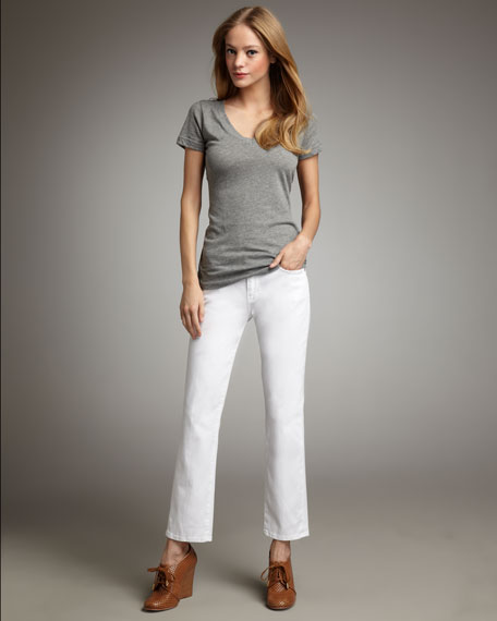 Slim Straight-Leg Jeans, Clean White