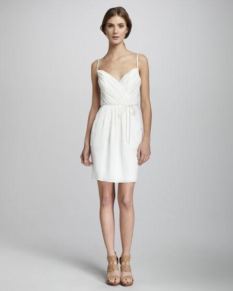 Mia Trellis-Stripe Silk Dress