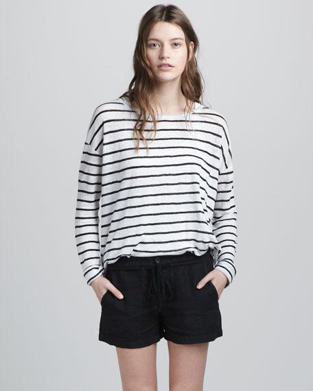 Linen Drawstring Shorts, Black
