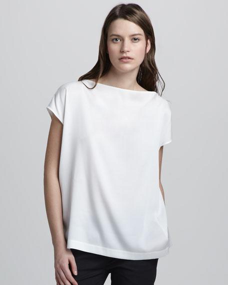 Silk Boat-Neck Top, White