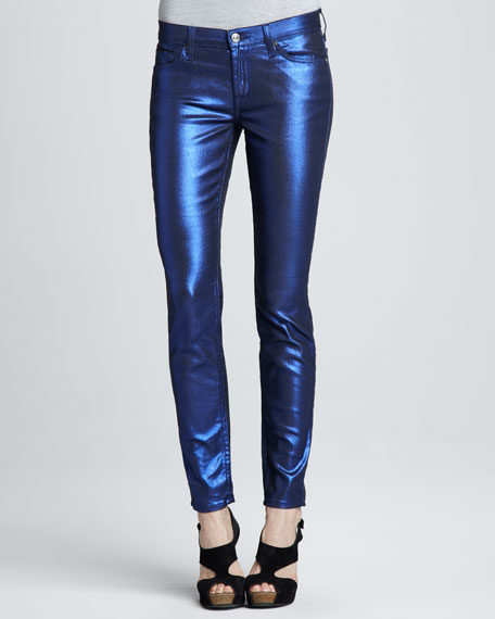 Skinny Electric Blue Liquid Metallic Skinny Jeans