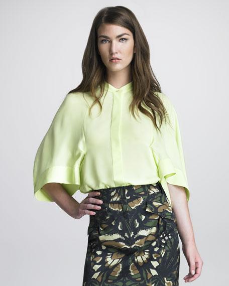 Kimono-Sleeve Silk Blouse