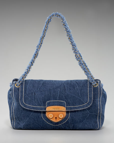 34117691570b Prada Denim Chain Shoulder Bag