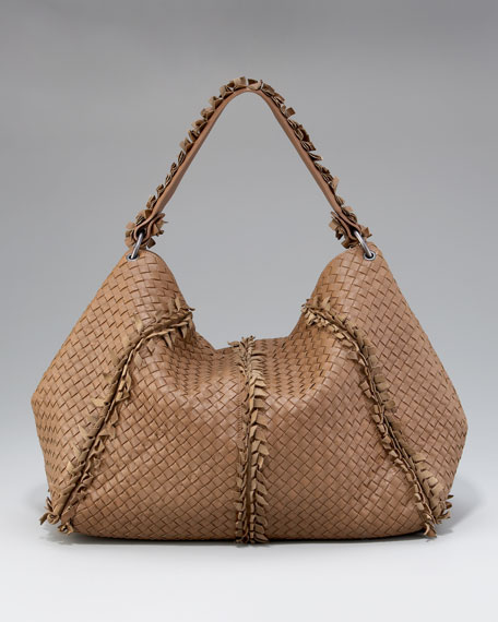 Fringe-Detailed Woven Hobo