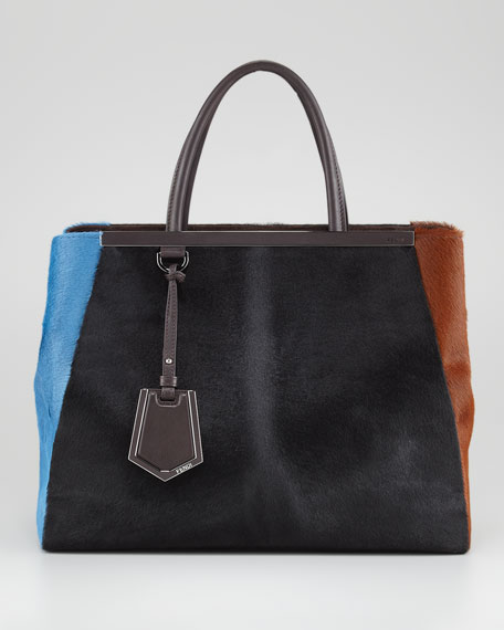 2Jours Calf Hair Tote Bag, Black/Sugar Paper