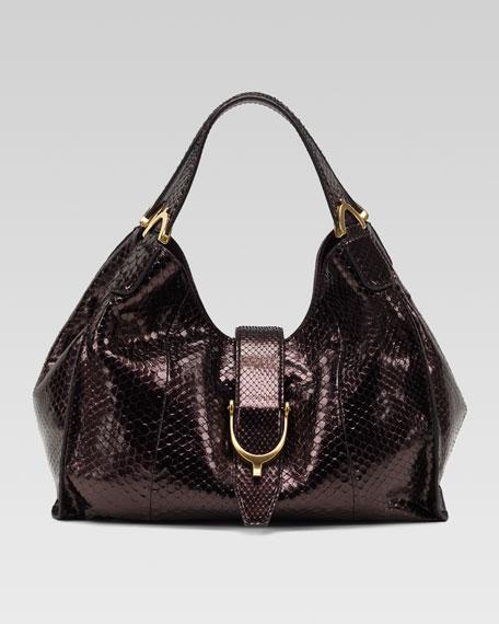 Soft Stirrup Python Shoulder Bag, Medium