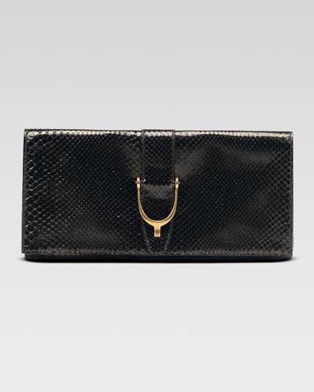 3d0e44ab985d Gucci Soft Stirrup Python Clutch Bag