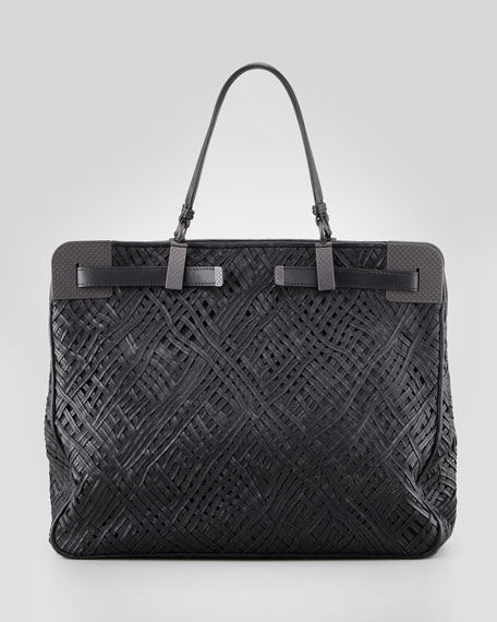 Stitched and Woven Leather Tote Bag