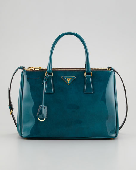 Spazzolato Double-Zip Tote Bag, Teal
