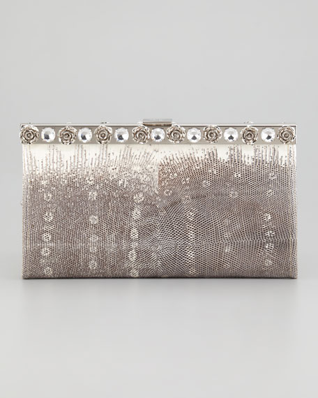 Lucertola Lizard and Crystal Clutch Bag, Gray