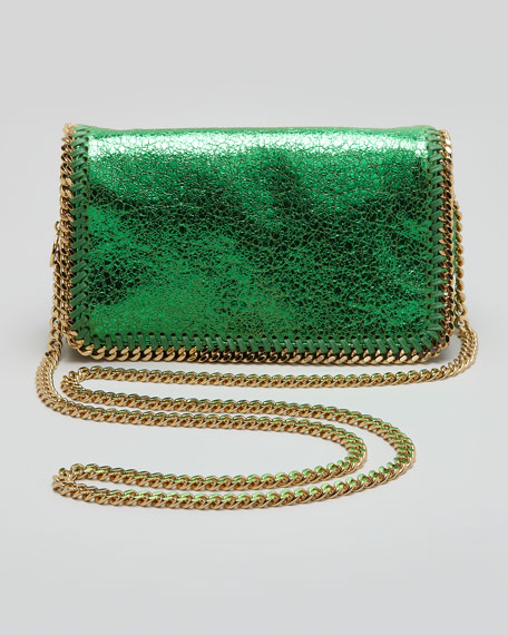 Crackled Metallic Crossbody Bag, Green