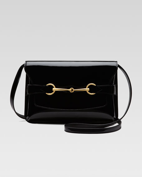 Bright Bit Patent Leather Shoulder Bag, Black