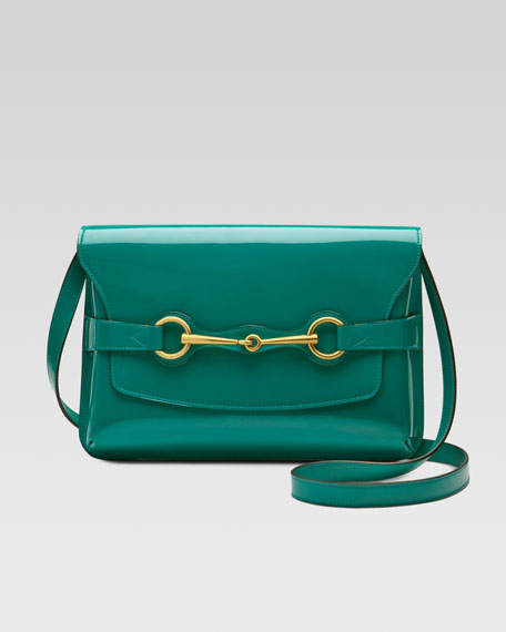 Bright Bit Patent Leather Shoulder Bag, Teal