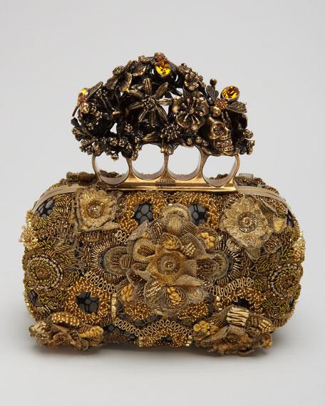 Raso Seta Knuckle Box Clutch Bag, Gold