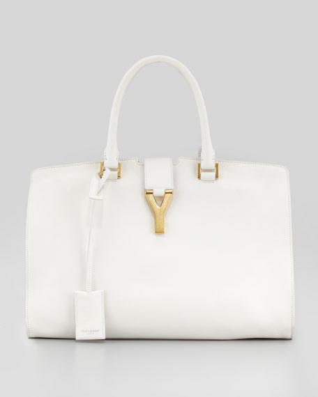 Y Ligne Borsa Medium Soft Leather Bag, Off White