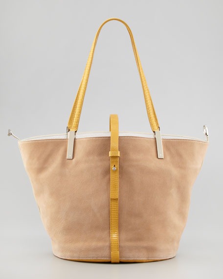 Garden Colorblock Tote Bag, Wheat/White