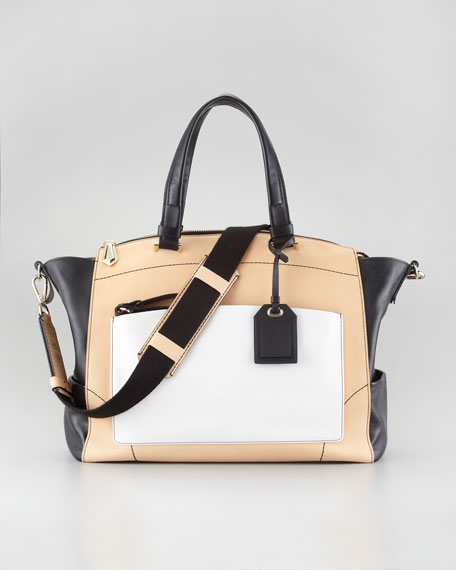 Uniform Satchel, Nude/Black/White