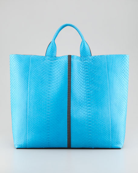 Exotic Python Track Tote Bag, Blue