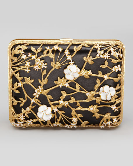 Metallic Floral Rectangle Box Clutch, Black/Gold