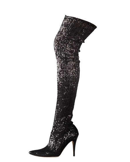 Sequined Pascalare Over-The-Knee Boot