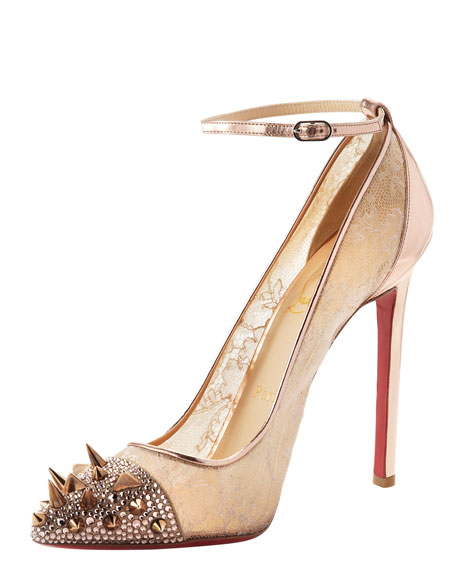 Picks & Co Potpourri Spiked Toe & Lace Red Sole Pump