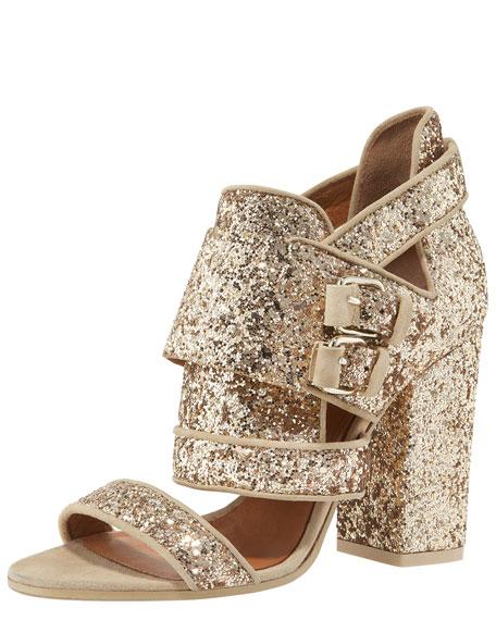Glittered Chunky-Heel Sandal