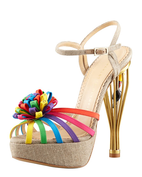 Birds of Paradise Cage-Heel Sandal