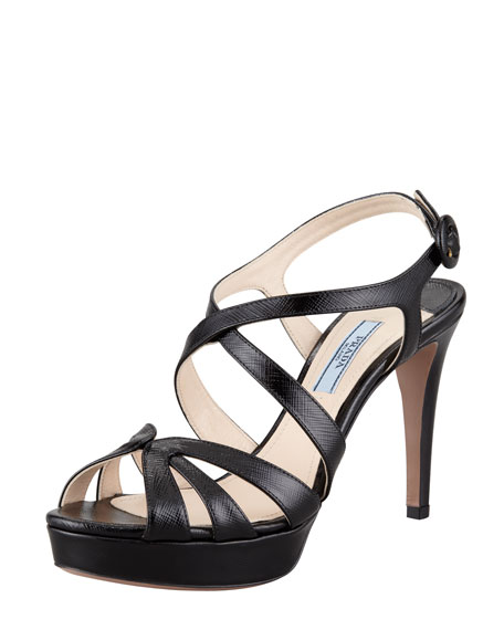 Patent Saffiano Leather Sandal, Black