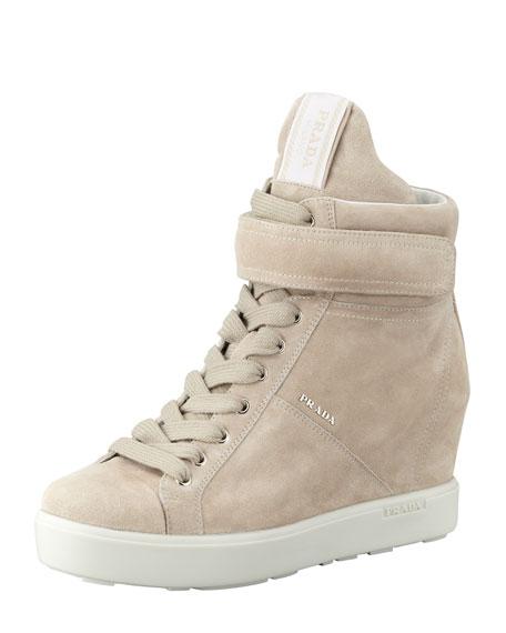 c0948d20fb31 Prada Suede Hi-Top Wedge Sneaker