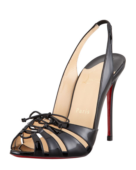 Corsetica Patent Leather/PVC Slingback Red Sole Sandal