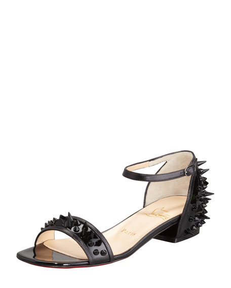 Druide Spiked Patent Flat Sandal